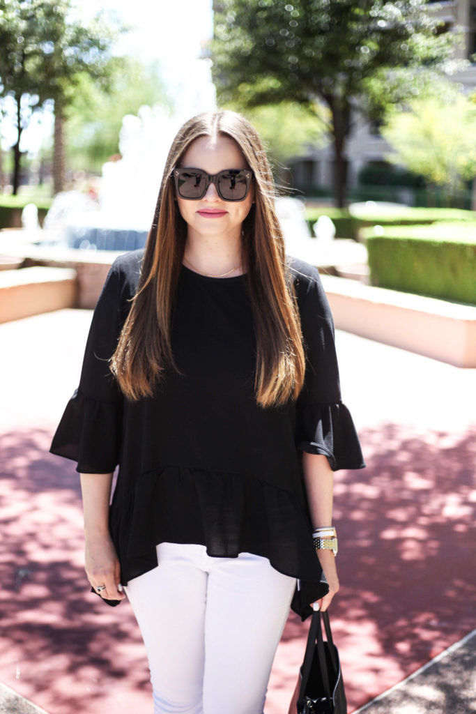 Fashion Blogger - Black Ruffle Top