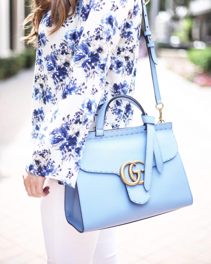 GG Marmont Leather Top Handle Bag - Blue